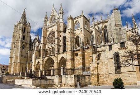 Cathedral In The Historic Center Of Leon, Spain