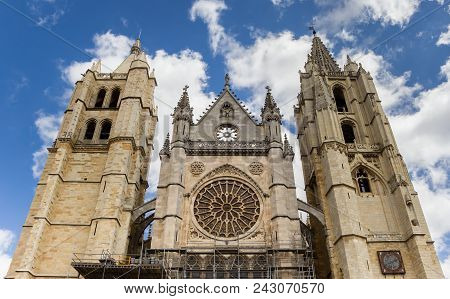 Towers Of The Historic Cathedral Of Leon, Spain