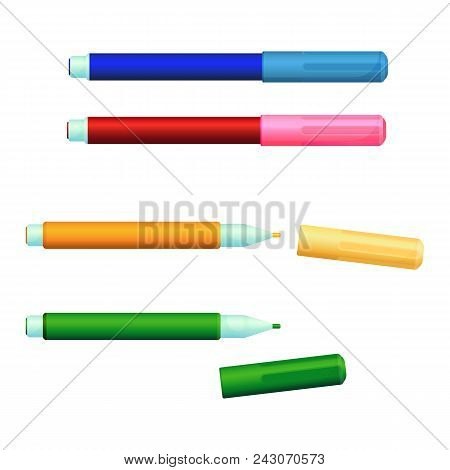 Set Of Color Markers Fineliner Felt-tip Pens With Covers. Flow Sketch Pen With Own Ink-source And Ti