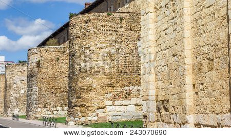 Old Roman Walls In The Historic Center Of Leon, Spain