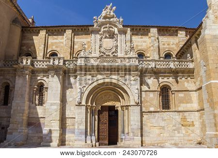 Frontal View Of The Basilica De San Isidoro Of Leon, Spain
