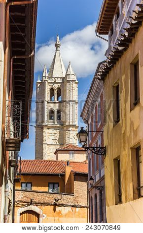 Cathedral Tower Between Colorful Houses In Leon, Spain