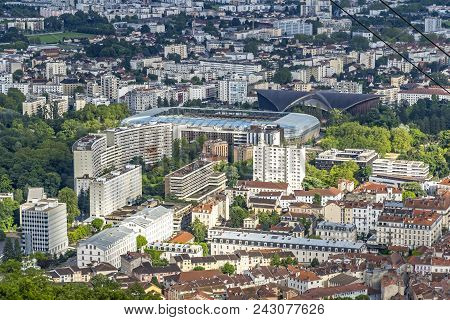 Aerial View Of Grenoble Old Town. Stadium Stade Des Alpes On The Background. Auvergne-rhone-alpes Re