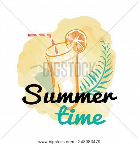 Summer Time Background With Refreshing Drink, Glass Of Cold Beverage With Ice, Striped Straw And Jui