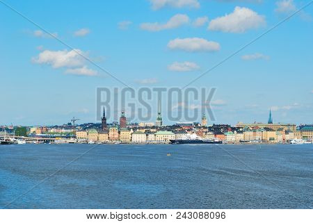 Stockholm, Sweden. View Of The Old Town From The Sea In A Sunny Summer Day