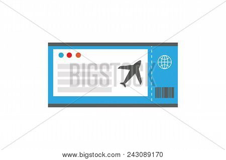 Ticket On Plane, Travelling Document, Airport And Check-in, Icon Of Plane And Globe, Data And Inform