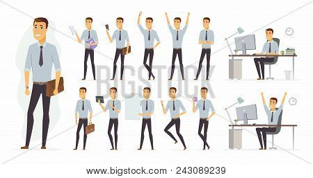 Cheerful Businessman - Vector Cartoon People Character Set Isolated On White Background. Set Of Diff