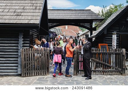 Bran, Romania - September 7, 2017: Entrance And Ticket Office To The Bran Or Dracula Castle In Trans