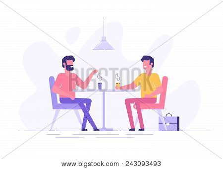 Two Male Colleagues Chatting During Coffee Breaks At A Table In A Cafe. Modern Flat Vector Illustrat