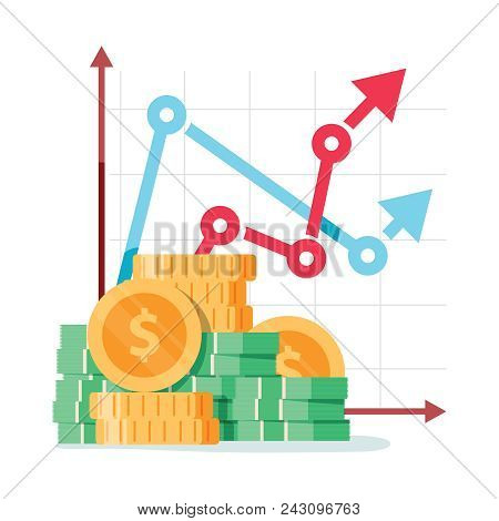 Pay Rise Business Vector Concept. Career Ladder Of Money, Salary Increase Symbol With Financial Bene