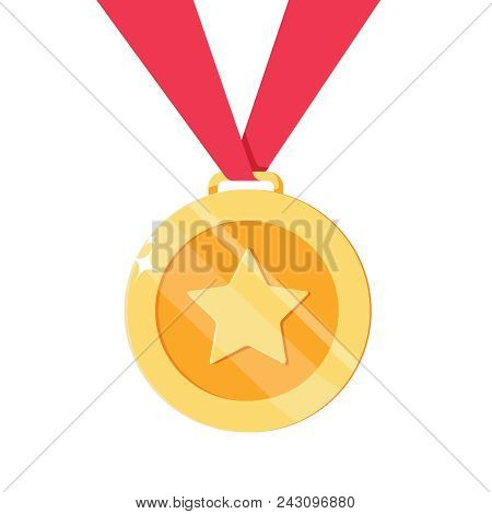 Medal For 1st, First Place With Star. Golden, Trophy, Winner Award Isolated On Background. Badge And