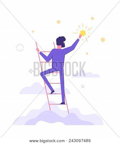 Businessman Is Standing On Stairs And Reaching Star On The Sky. Goals And Dreams. Business And Caree
