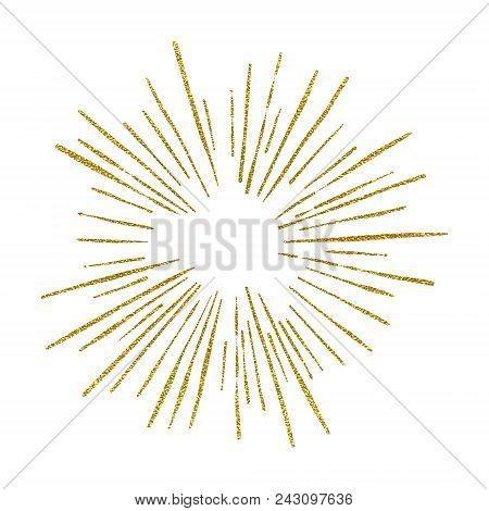 Sunshine. Explosion Vector Illustration. Rays Element. Sunburst, Starburst Shape On White. Golden Ra