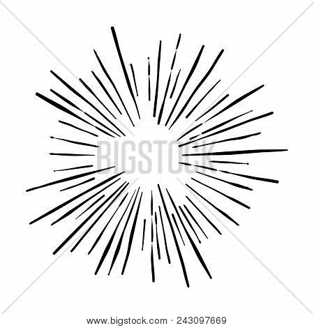 Sunshine. Explosion Vector Illustration. Rays Element. Sunburst, Starburst Shape On White. Radial Li