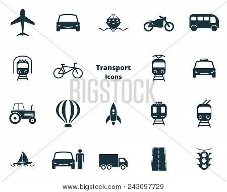 Set Vector Transport Icons Collection In Flat Design. City Transport, Vihecles, Auto For Web Design,