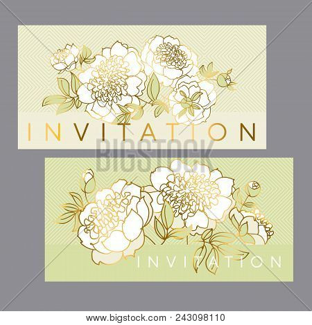 Tender White Peony Flower With Gold Outline. Luxury Floral Wreath Element For Header, Card, Wedding