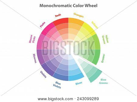 Monochromatic Color Wheel, Color Scheme Theory, Blue Greens Color In Evidence, Vector Isolated Or Wh