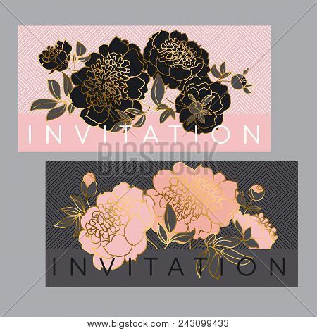 Concept Black And Pale Rose Peony Flower. Luxury Gold Floral Element For Header, Card, Wedding Invit