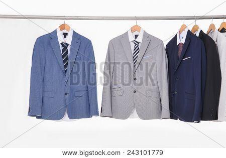 Set of men's suits hanger-white background