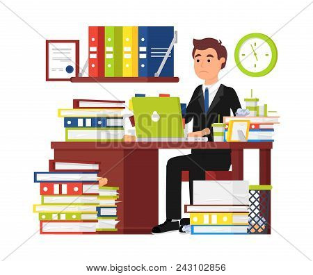 Busy Man Office Worker. Businessman Working Behind Laptop And Doing Office Document Paperwork. Every