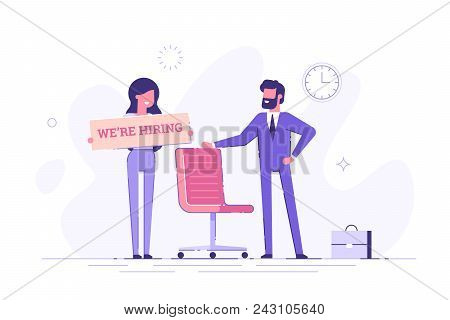 Businessman And Woman Are Hiring New Staff. Head Hunters. Vacant Place In An Office. Flat Vector Ill