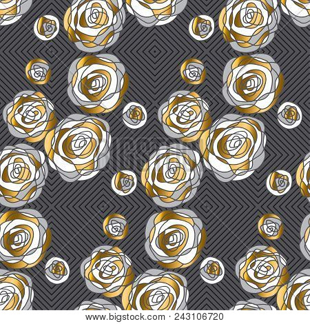 Abstract Decorative Rose Flowers Seamless Pattern. Gold And Gray Floral Motif For Background, Wrappi