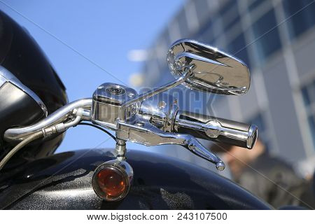 Motorcycle Side Mirror. Handle And Rear View Mirror Of Motorcycle. Motorcycle Mirror Detail