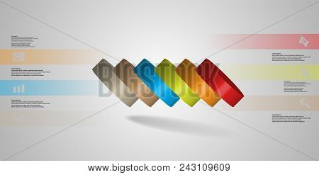 3d Illustration Infographic Template With Motif Of Horizontally Sliced Cylinder To Six Color Parts W