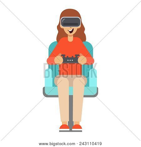 Girl Sitting In An Armchair And Plays Using Head-mounted Device For Virtual Reality. Virtual Reality