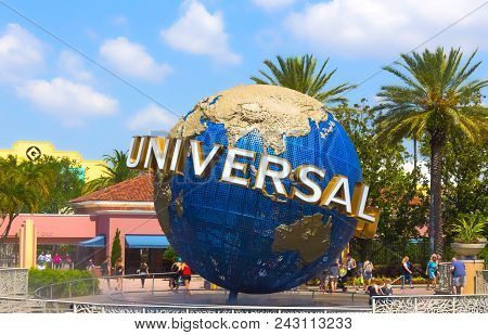 Orlando, Usa - May 8, 2018: The Large Rotating Universal Logo Globe On May 8, 2018. Universal Studio
