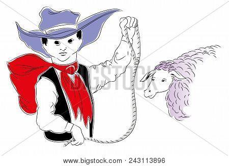 Cowboy Kid.  Cowboy Kid With Lasso. Illustration Of Cowboy Child In The Farm. Sheep And Cowboy Kid.