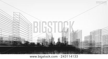 Perspective 3D Render Of Building Wireframe. Vector Wireframe City Background Of Buildings.
