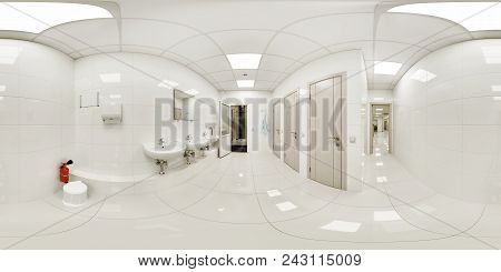 360 Panorama Of The Common Room With Washbasins In A Private Medical Clinic With Several Sinks And T