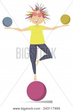 Smiling Cartoon Young Woman Do Exercises With The Balls Vector Illustration. Funny Young Woman With