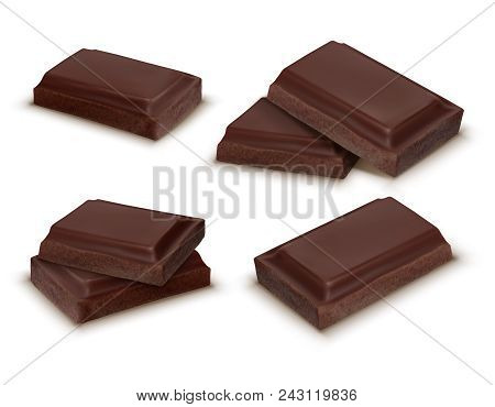 Vector 3d Realistic Collection Of Chocolate Pieces. Brown Delicious Bars For Packaging Mock Up, Pack