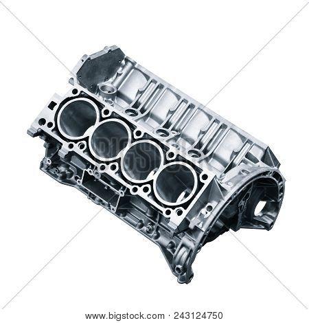 Cylinder Block .automotive Part, Machine Part Isolated On A White Background. Engine Block V8