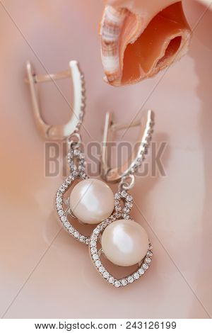 Elegant Silver Earring With Pearl And Diamonds Inside Seashell. Luxury Jewelry On Natural Background