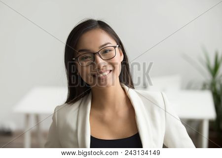 Smiling Asian Woman In Glasses For Vision Correction Looking At Camera, Happy Friendly Chinese Stude