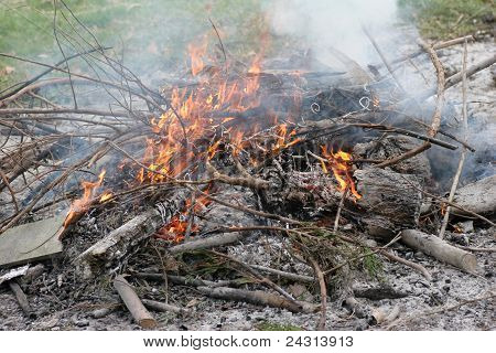 Fire burning outside