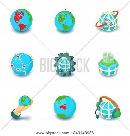Terrestrial Globe Icons Set. Cartoon Set Of 9 Terrestrial Globe Vector Icons For Web Isolated On Whi
