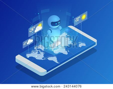 Isometric Artificial Intelligence Shows The Weather In The World On Smartphone. Artificial Intellige
