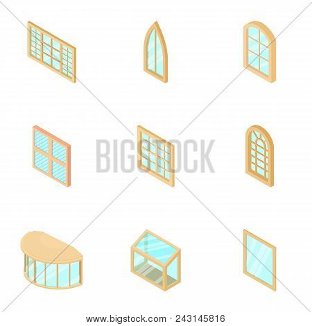 Window Display Icons Set. Isometric Set Of 9 Window Display Vector Icons For Web Isolated On White B