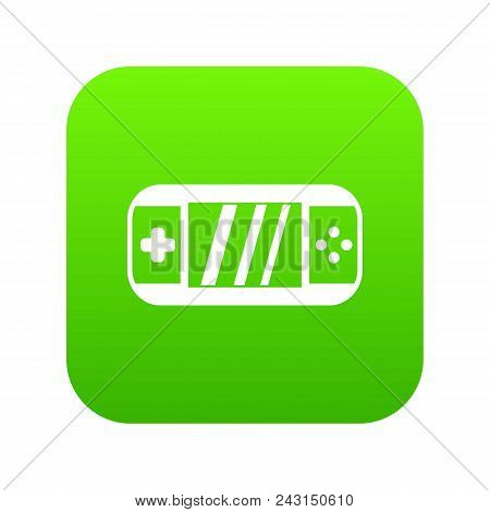 Portable Video Game Console Icon Digital Green For Any Design Isolated On White Vector Illustration