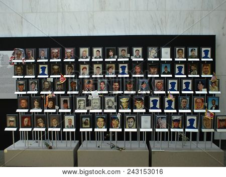 Portraits Of The Fallen In The Afghanistan And Iraq War At The Women In Military Service For America
