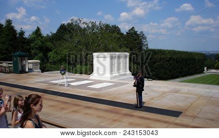 The Old Guard Patrolling In Front Of The Tomb Of The Unknown Soldier At Arlington National Cemetery,