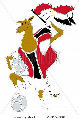 World Cup Mascot Egypt.  Egyptian Camel Soccer Mascot. Football Tournament 2018. Logo For The Summer