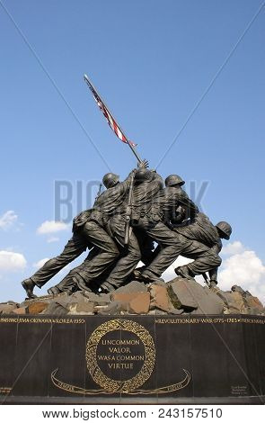 United States Marine Corps Memorial Featuring The Six Marines Who Raised The United States Flag Duri
