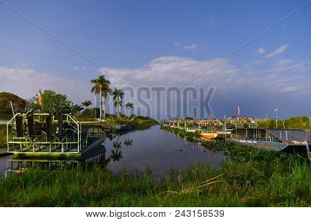 Everglades, Florida - May 30, 2018: Parked Air Boats In The Tropical Florida Everglades At Night