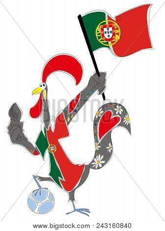 World Cup Mascot Portugal  Portuguese Rooster Soccer Mascot. Football Tournament 2018. Logo For The