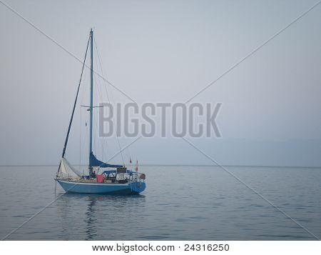 Yacht in calm Greek sea